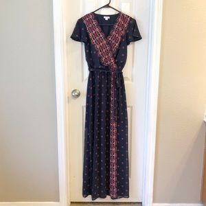 Blue Print Maxi Wrap Dress